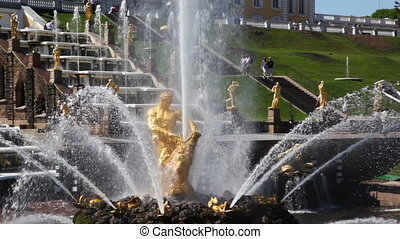 Fountain Samson rending the lions mouth and panorama left of...