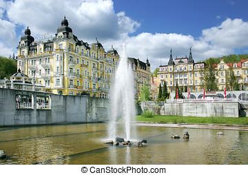 fountain, spa Marianske lazne, Czech republic - MARIANSKE...