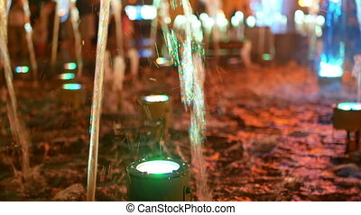 Fountain sparkling water night - Fountain throws up high...