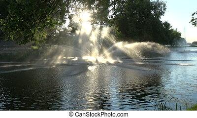 Fountain splash in summer