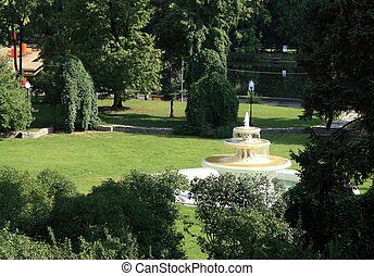 The fountain on a sunny lawn in the Gorky park in Moscow