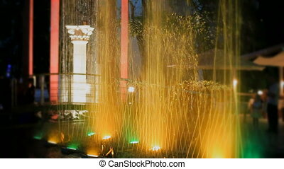 Fountain with color backlight