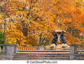 Fountain with fall trees