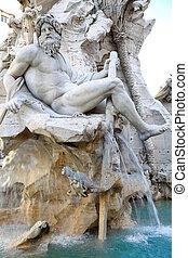 Fountain Zeus in Bernini's, dei Quattro Fiumi in the Piazza Navona in Rome, Italy