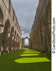 Fountains Abbey arches medieval monastery North Yorkshire