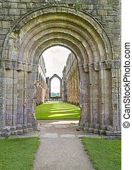 Fountains Abbey arches medieval monastery