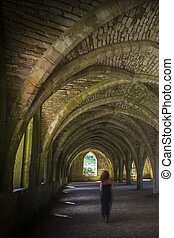 Fountains Abbey Cellarium in North Yorkshire UK