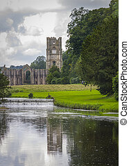 Fountains Abbey with reflection in water North Yorkshire England