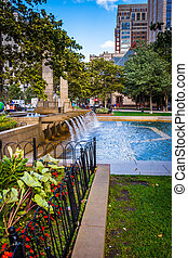 Fountains and gardens in Copley Square, Boston,...