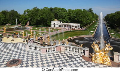 Fountains and pavilion left from Royal Petrodvorets -...