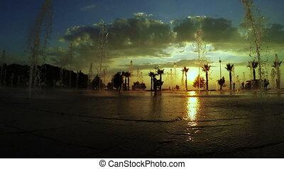 Fountains and sunset Batumi Seafront Boulevard - In Batumi...