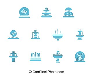 Fountains decor glyph style vector icons set