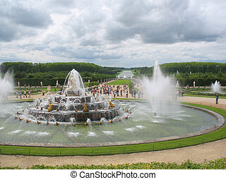 fountains in a park