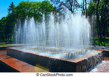 fountains in city park
