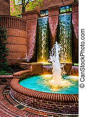 Fountains in downtown Lancaster, Pennsylvania.