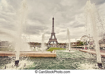 Fountains in Paris - The fountains on place Trocadero in...