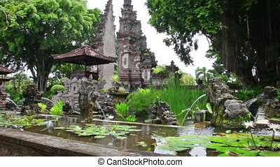 Fountains in the form of stone lions - traditional Buddhist culture to Bali