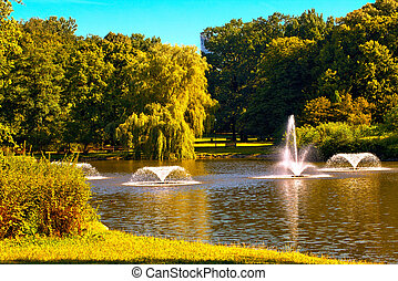 Fountains in the park