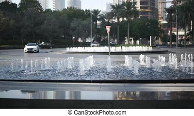 Fountains near of the street in Dubai, UNITED ARAB EMIRATES