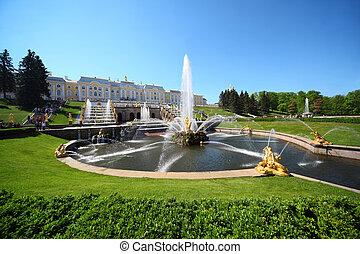 "Fountains ""Samson and  Lion"", of Petergof, Saint Petersburg, Russia"