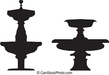 Fountains silhouettes