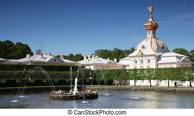 Fountains square ponds of Upper Garden with statue Venus Italic at Royal Petrodvorets