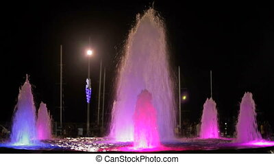 Fountains with color highlights