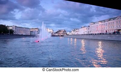 Fountains with illumination in Obvodnoy channel at evening...