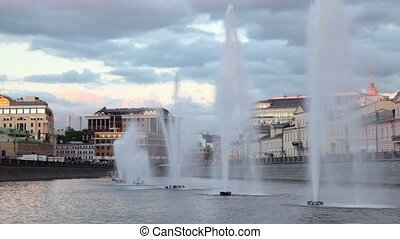 Fountains with in Obvodny channel at evening in Moscow