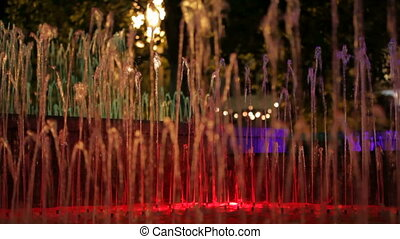 Fountains with red backlight