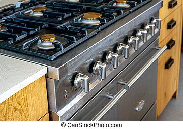 four, électrique, nouveau, incorporé, essence, marque, bois, poêle, cuisine, moderne