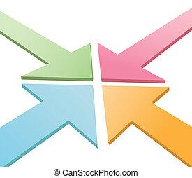 Four 3D arrows converge point to center - Four colorful 3D...