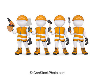 Four 3d white mans in overalls with a tools