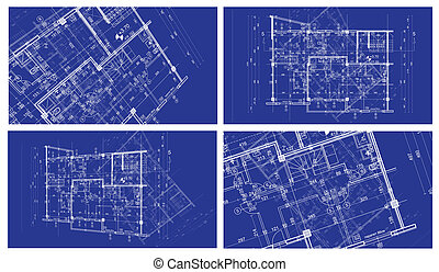 four abstract architecture background