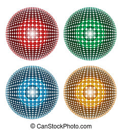 four abstract ball