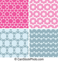 Four abstract chain motives seamless patterns set - vector...