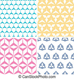 Four abstract geraldic geometric pink seamless patterns set...