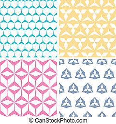 Four abstract geraldic geometric pink seamless patterns set...