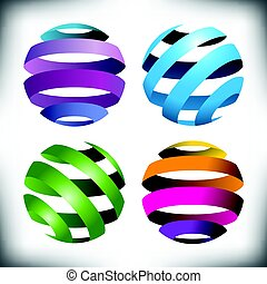 Four abstract globes