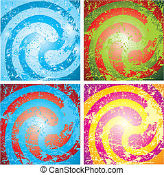 four abstract motley grunge background