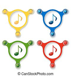 four abstract vector objects and a colored music icon