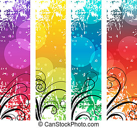 Four abstract vertical banners with swirl elements
