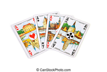 ace cards - four ace cards isolated on white background