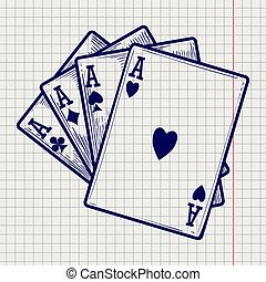 Four ace cards on notebook page