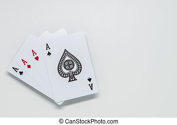 Four Ace cards on white background and selective focus