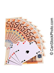 Four aces and 50 Euro banknotes over white background.