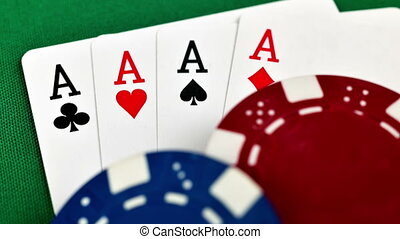 Four Aces And Poker Chips, Close Up