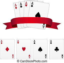 Four aces with red banner