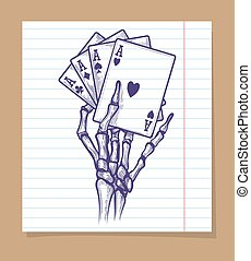 Four aces in skeleton hand sketch