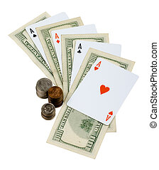 Four aces. Money and Cards